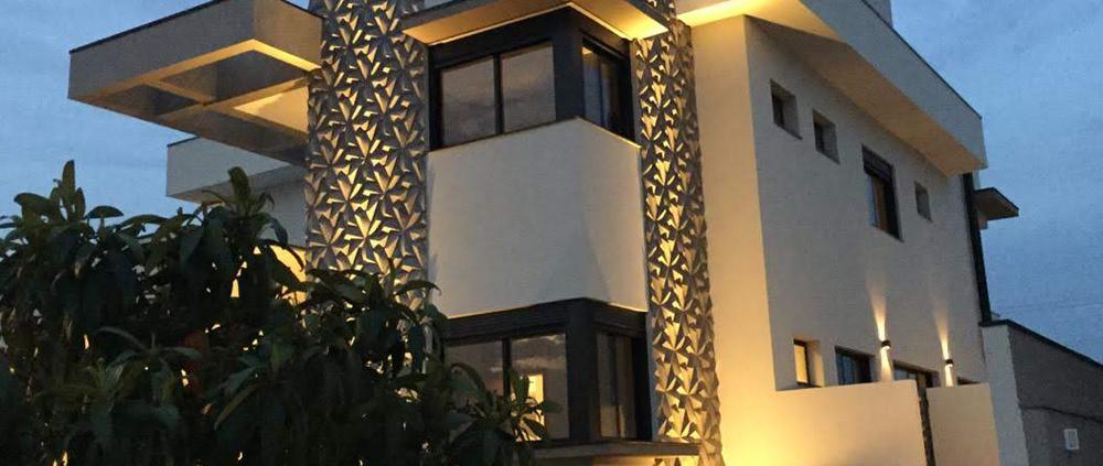 fachada com revestimento 3D